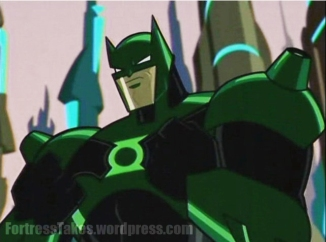 "Batman even sports Green Lantern armor in episode 10. ""In brightest day, in blackest night; No evil shall escape my sight; Let those who worship evil's might; Beware my power... Batman's light!?"""