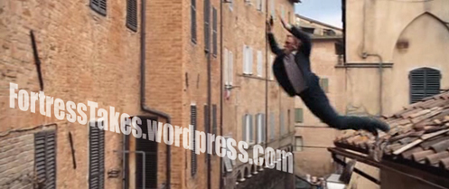 Craig's Bond is all about Parkour, and QoS is no exception.  However, some of his continued jumps we undoubtedly ankle breakers.
