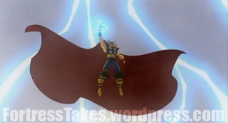 Thor, GoD of Thunder!  Superpowerful heroes need super difficult antagonists.  Here, Thor wrestles with his overly large cape.