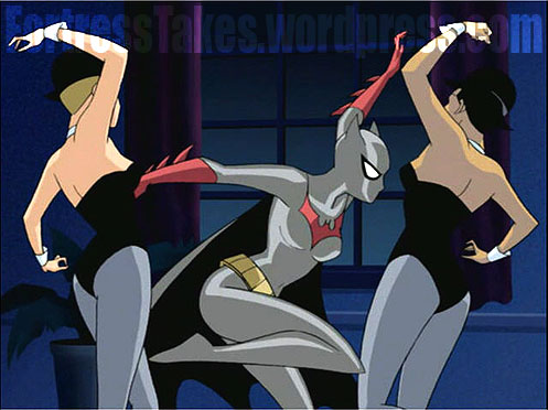Is Batwoman a flop at syncronized dancing?  Does she dance like Elaine from Seinfeld?  How many captions can you write for a goofy looking screen cap?